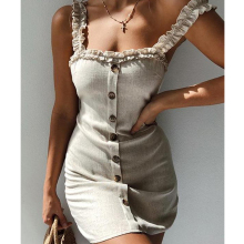 Для женщин летнее платье поступление; Женские однотонные туфли с оборками и низким вырезом на спине, тонкий Повседневное без рукавов Праздничная мини Открытое платье без рукавов