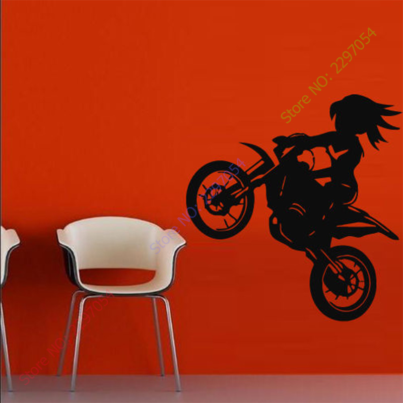 Free Shipping Wall Decal Sticker Vinyl Decor Bedroom Tribal Dirt Bike Moto Motorcycle 22 ...