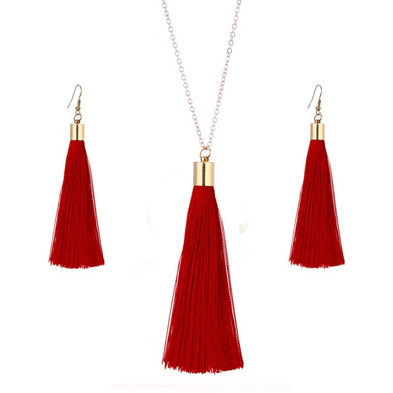 European Exaggerated Jewelry Set Ethnic Boho Long Tassel Drop Earrings Necklace Women Fashion Punk Fringed Pendant Chain Collar(China)