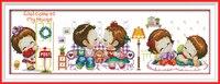 Joy Sunday Cartoon Style Welcome To My House Long Needlepoint Cross Stitch DIY Kits For Kids