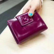 Oil wax genuine leather wallet woman high quality clutch bag woman evening bag black purple brown hotpink blue