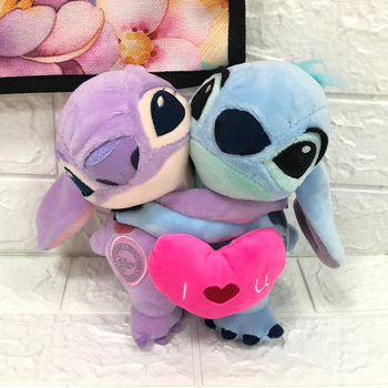 20cm Lilo And Stitch Plush Toys Love Heart Stitch And Angel Hug Couple Cute Stuffed Animals Baby Kids Toys For Children Gifts