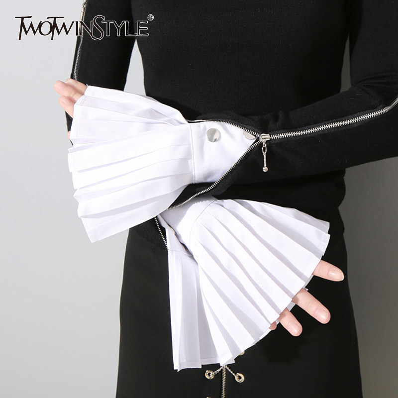 TWOTWINSTYLE Fashion Pleated Gloves Women Flared Cuffs All-match Basic Clothes Accessories 2020 New
