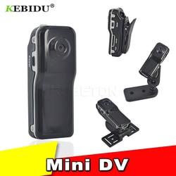 Kebidu preto mini dv câmera de vídeo md80 dvr 720p hd dvr esporte ao ar livre com um suporte de áudio e clipe