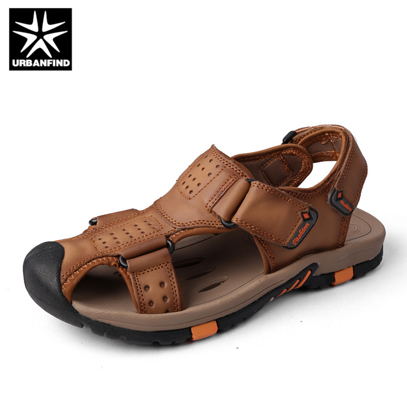 URBANFIND Men Genuine Leather Sandals New Arrival Summer Shoes Size 38-45 Classic Style Male Slip-on Casual Shoes