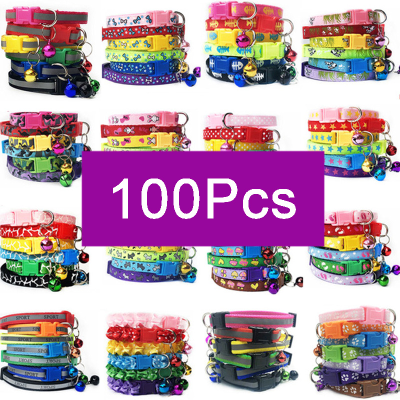 Wholesale 100Pcs Collars For Dog Collar With Bells Adjustable Necklace Pet Puppy kitten Collar Accessories Pet