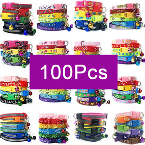 Wholesale 100Pcs Collars For Dog Collar With Bells Adjustable Necklace Pet Puppy kitten Collar Accessories Pet shop products(China)