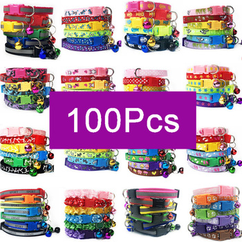 wholesale 100Pcs cat collar with bell safety Leads For Pets Collar puppy kitten Small Dog Collar Adjustable Buckle Accessories