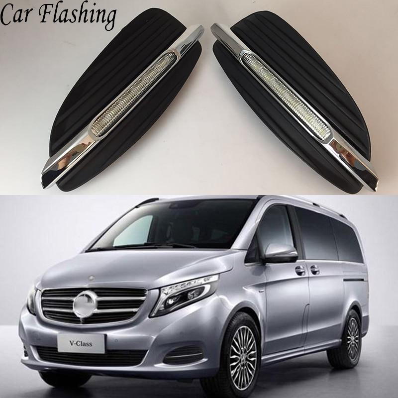 Car Flashing 1Pair For Mercedes Benz V Class Vito V250 V260 2016 2017 LED DRL Daytime