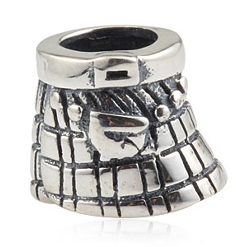 925 Sterling Silver Celtic Kilt Bead Charm Bead Fit European 4.5mm Hole Bracelet Necklace for Gift Women Jewelry Making