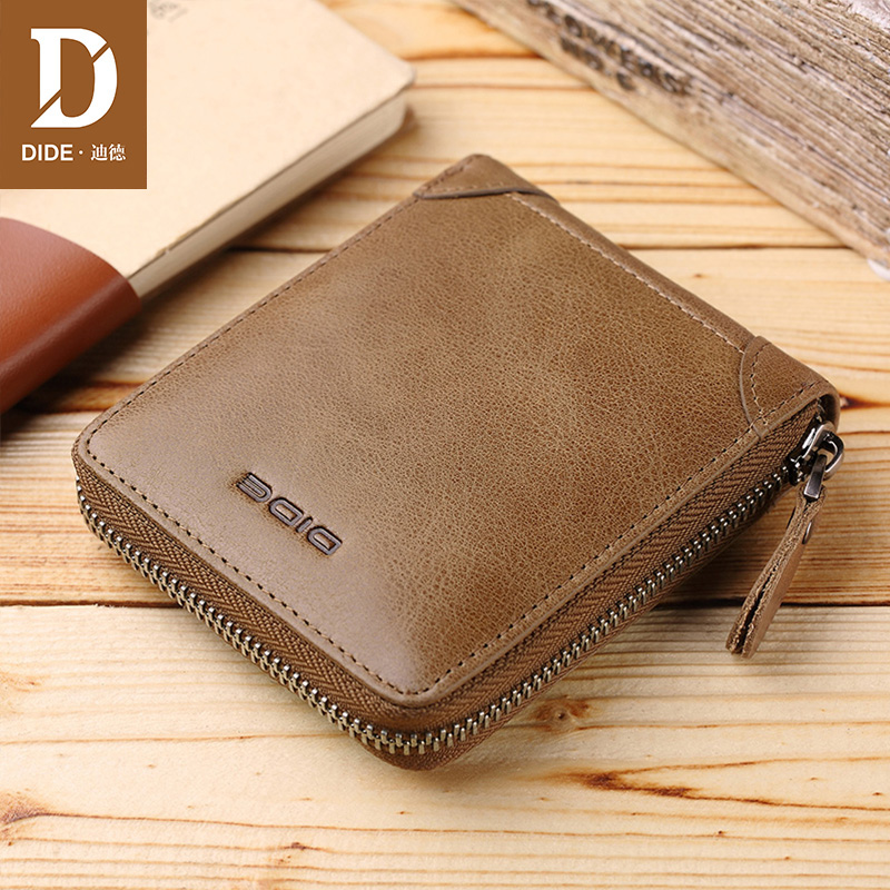 DIDE 2018 Fashion Small Men Wallets Male Genuine Leather Short Coin Purse Small Vintage Wallets Brand High Quality Designer italian style fashion men s jeans shorts high quality vintage retro designer classical short ripped jeans brand denim shorts men