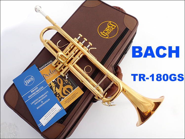 Bach Trumpet Bb Gilding TR-180GS Professional Trumpete Mouthpiece with Case and Gloves Yellow Brass Professional grade good quality professional palm pocket trumpet tone flat b bb brass wind instrument with mouthpiece gloves cloth brush