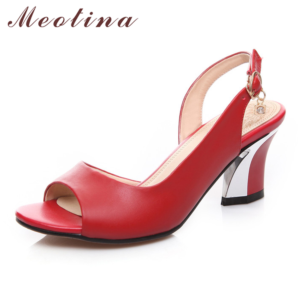 Meotina Genuine Leather Shoes Women Sandals Peep Toe High Heels Real Leather Sandals Rhinestone Ladies Shoes