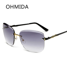 OHMIDA Piloto Sin Marco Sin Montura Gafas de Sol De Las Mujeres gafas de Sol Negro Gris Nueva Moda Diseñador de la Marca de La Vendimia oculos Gafa