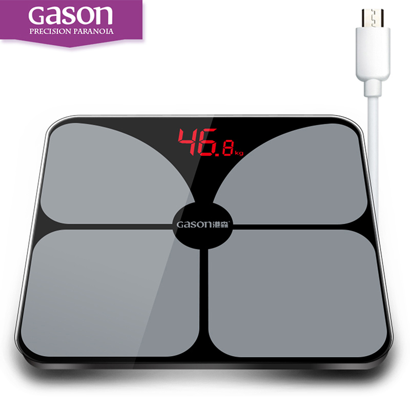 GASON A3s USB Charging Square LED Digital Display Weighing Floor Electronic Smart Balance Bathroom floor household scales