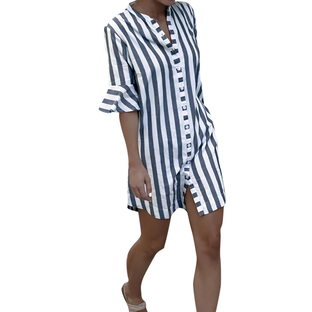 Women Striped Vertical Office t shirt Lady Sleeve Sleeve Long Sleeve Buttons Half Sleeve Stand Neck Casual Tops *n