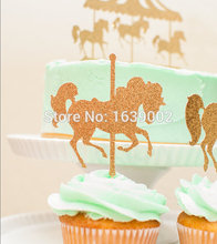 50pcs  Horse Cake Cupcake Topper Glitter Carousel Picks Birthday Flags Party Decoration