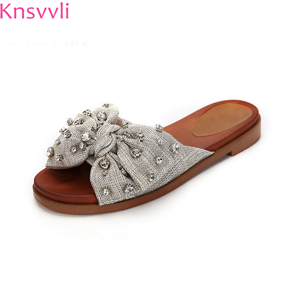 Knsvvli summer fashion women slippers blue bowknot rhinestone denim light grey outdoor casual comfortable flat heel woman shoes цена 2017