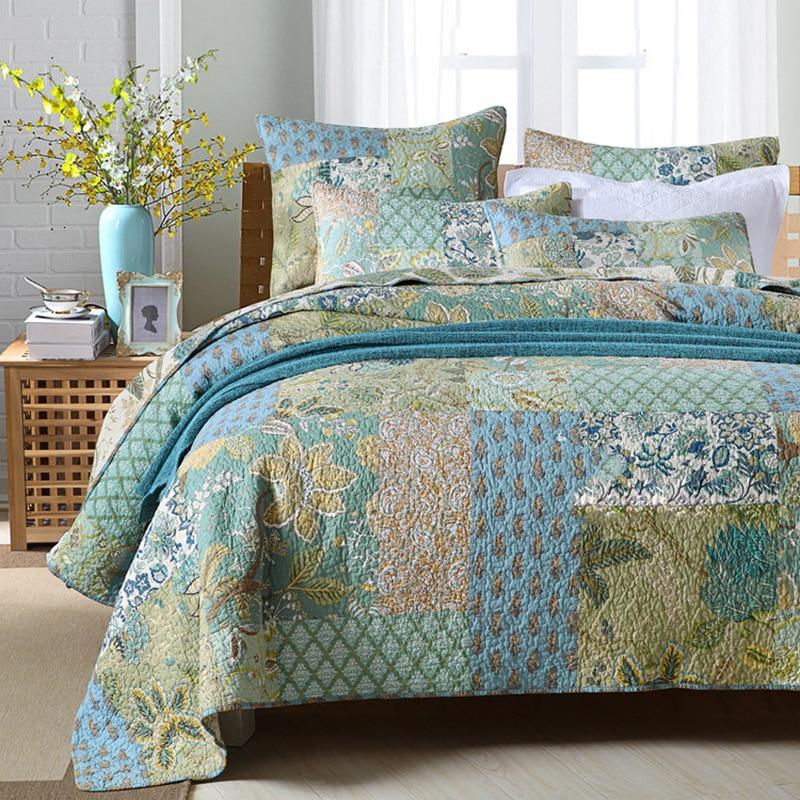 Chausub vintage retalhos colcha conjunto 3 pçs algodão artesanal acolchoado colcha colchas capa de cama fronha king size conjunto