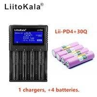 1 pcs liitokala mooring pd4 lcd 3.7 v 18650 21700 carregador de bateria + inr18650 4 pcs 3.7 v 18650 30q 3000 mah li ion bater