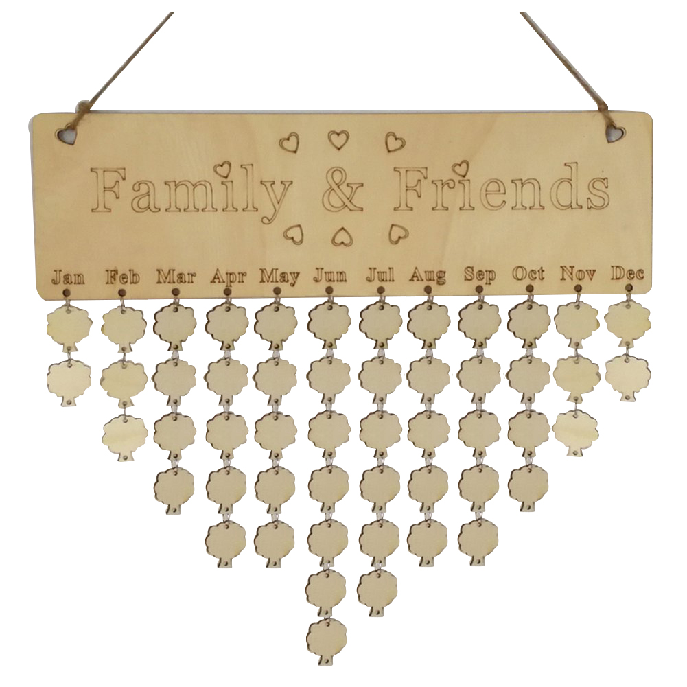 Vornehm Kreative Mode Holz Geburtstag Wichtig Tag Erinnerung Bord Diy Kalender baum Zubehör Produkte HeißEr Verkauf familie & Freunde