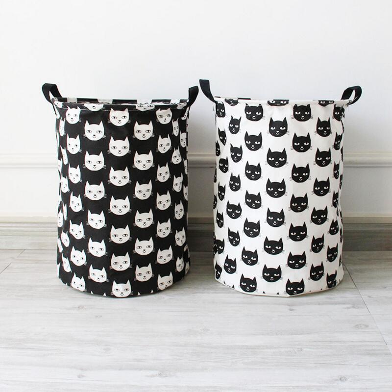 Great New Large Laundry Hamper Bag Cartoon Cat Clothes Storage Baskets Home  Clothes Barrel Bags Kids Toy Storage Laundry Basket AU594