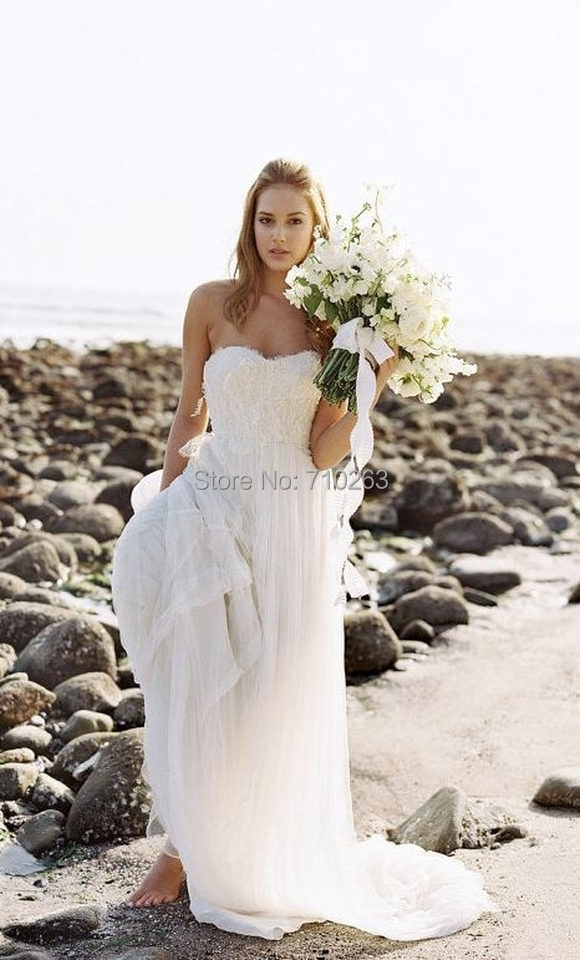 2014 New Vintage Lace Appliques Beach Wedding Gown A Line Strapless ...
