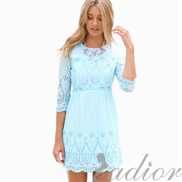 Ladior Casual Fashion Women Dress Cute Light Blue Lace Dress