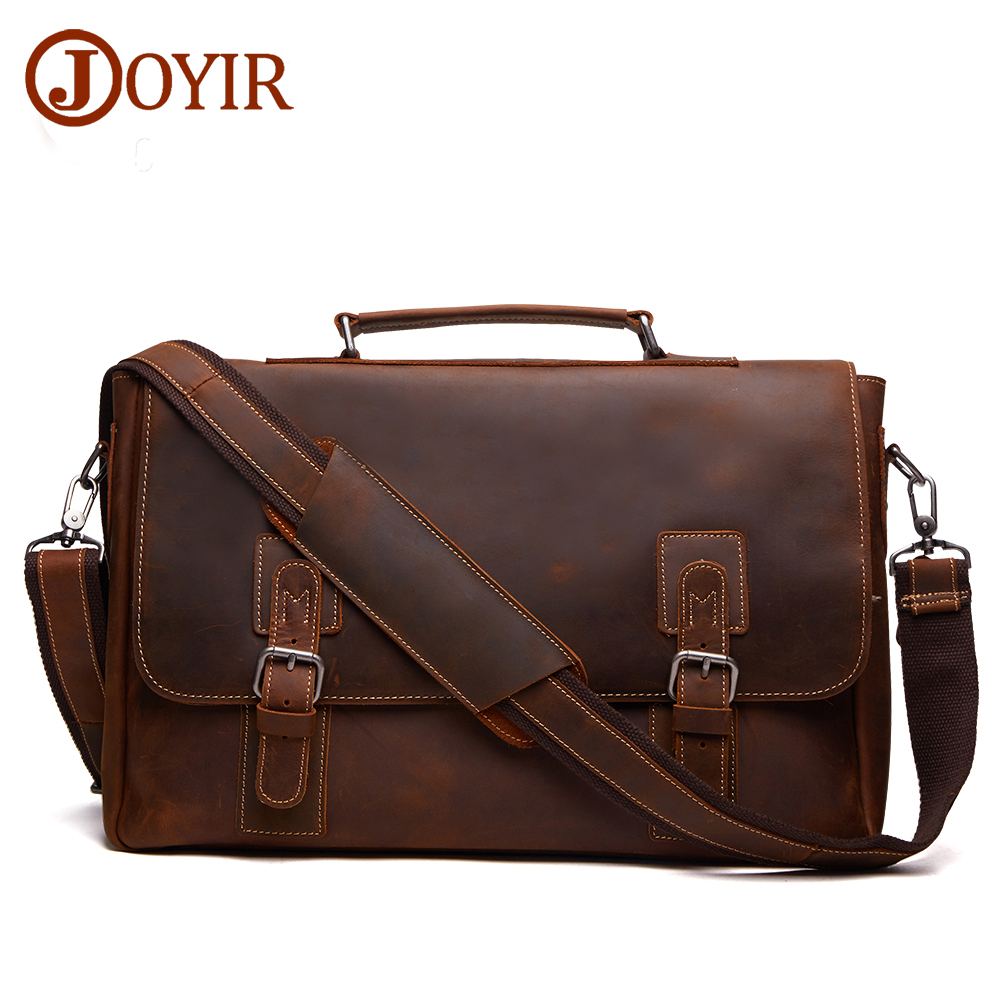 JOYIR 2017 Genuine Leather Man Handbag Shoulder Bags Crazy Horse Leather Crossbody Bag Men Messenger Bag for Men Male Bolsa 6301 joyir men briefcase real leather handbag crazy horse genuine leather male business retro messenger shoulder bag for men mandbag