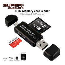 Micro USB OTG 2 in 1 USB 2.0 Adapter SD Card Reader For Android Phone Tablet PC Memery Cards Reading Device Free shipping(China)
