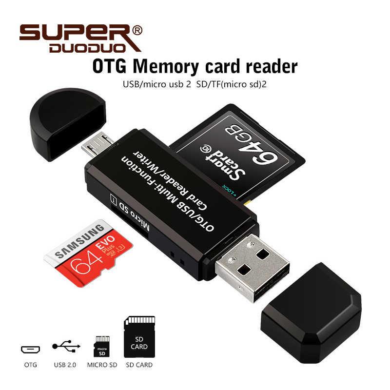 المصغّر usb وتغ 2 في 1 USB 2.0 محول قارئ البطاقات SD لالروبوت هاتف لوحي PC Memery بطاقات القراءة جهاز شحن مجاني