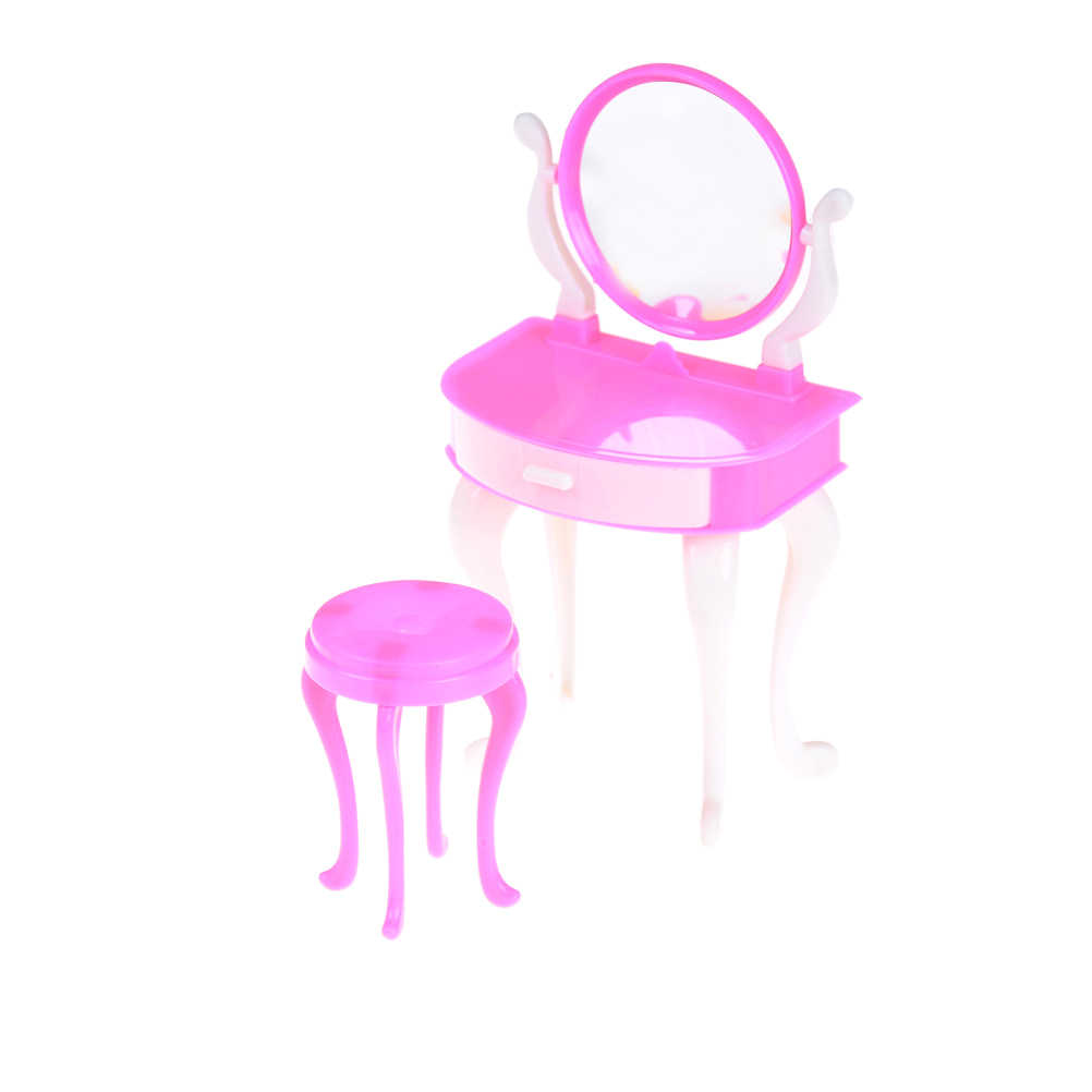 newest collection 03a9e 47565 1 SET Pink Doll Make-up Table Chair Dollhouse Furniture Girls Children  Cosmetics Toy Dressing Table Sets Accessories Toys