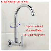 Chrome Plated Brass Wall Mounted Kitchen Sink Faucet Tap Rotatable Water Tap For Kitchen Sink Free
