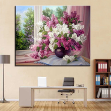 1 Panel Beautiful Lilac Flower Modern DIY Painting By Numbers Kits Handpainted Oil Unique Gift For Home Wall Artwork