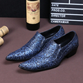 Christia Bella New Fashion Genuine Leather Men Shoes Wedding Flowers Blue Men Dress Shoes Slip on Oxfords Men's Flats Large Size