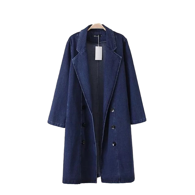 Denim   Trench   Coat Women 2019 Spring Autumn Plus size Long Windbreaker Female Double-breasted Large size Jeans Cotton Coats A2485