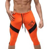 Elastic Low Waist Jogger Shorts Men S Pants Knee Length Tight Compression Shorts 2015 New Patchwork