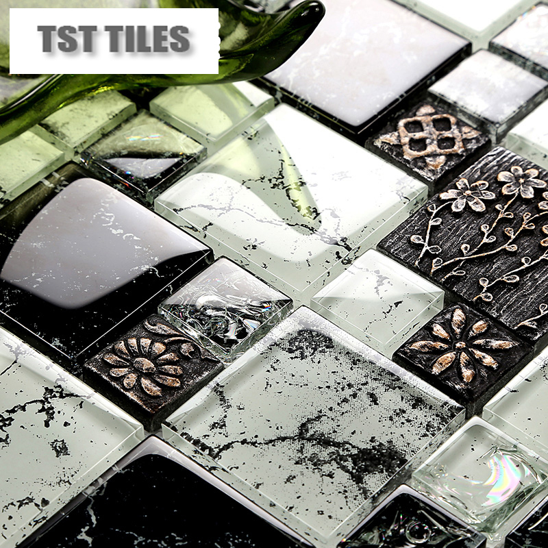 New Arrival Black Gl Mosaic Tile Resin Flowers Clear White