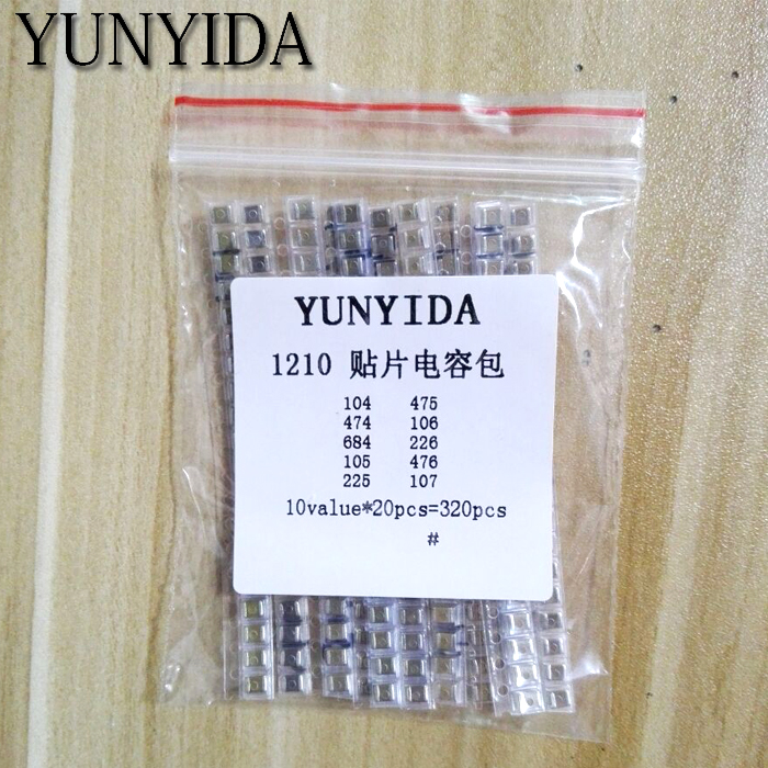 1210 SMD Capacitor Assorted Kit ,10values*20pcs=200pcs 100nF~100uF Samples Kit Electronic Diy Kit  Free Shipping