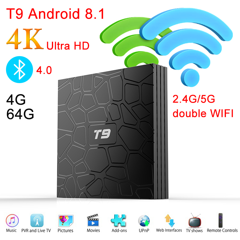 Android 8.1 TV Box T9 RK3328 1080P H.265 4K Google Player Store Netflix Youtube TV BOX 4GB RAM 64GB Set Top Box with USB 3.0 цена