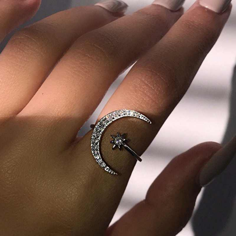 1Pcs 2019 Fashion Ring Moon And Star Dazzling Open Finger Ring  For Women Girls Jewelry Pure Wedding Engagement Jewelry Gifts