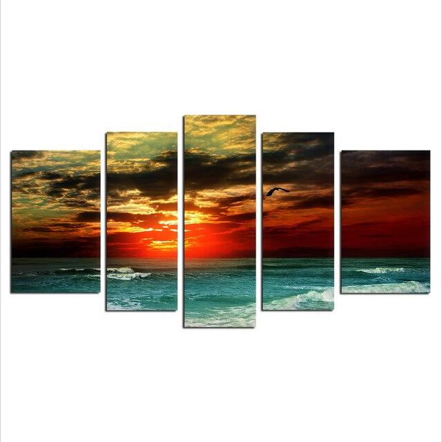 5Pcs/set Seascape Wall Art Sunrise Beach Painting Printed On Canvas ...