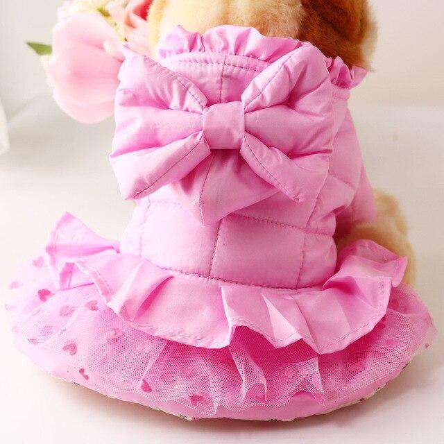 Śliczny różowy pies szczeniak luksus księżniczka łuk spódnica tutu sukienka ciepłe zimowe małe zwierzę domowe kot pies płaszcz puchowy kurtka chihuahua pies ubrania