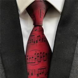 9 см новый дизайн для мужчин музыка Узор Галстук Мода Бордовый вино цвет музыкальная нотация Галстуки для концертной Вечерние