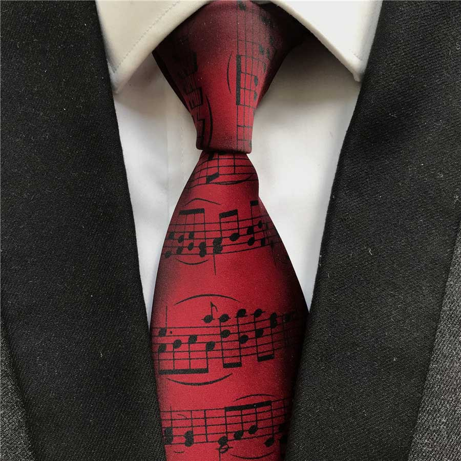 Burgundy Wine Color Music Notation Necktie Ceremony Happy Anniversary Wedding Party Ties Cravat For Musician Concert