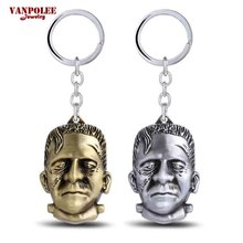 2016 New Arrival Science Fiction Frankenstein 3D Portrait Keychain Gold/Silver Zinc Alloy Key Chain Ring for Father's Day Gifts
