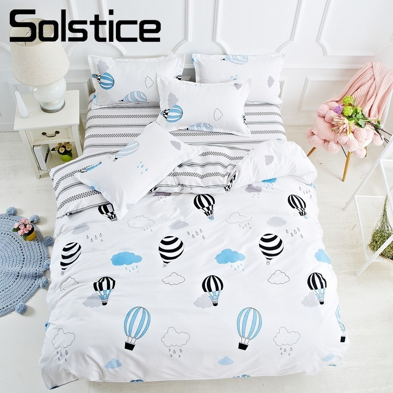 Solstice Home Textile Balloon Bedlinen Kids Teens Girl Boys Bedding Sets Pillowcase Bed Sheet Duvet Cover Queen Twin Size 3/4Pcs