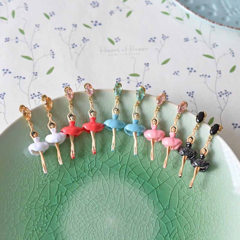 French Jewelry Enamel Glaze Paris Romantic Ballet Girl Dancers Gem Women Stud Earrings
