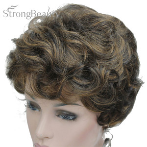 Image 3 - StrongBeauty Short Black Brown Mix Blonde Highlights Wigs Women Synthetic Curly Wigs