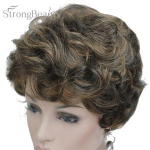 Image 3 - StrongBeauty короткий черный коричневый микс блонд парик с окраской перьями Женские синтетические вьющиеся парики